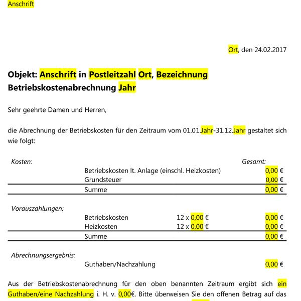 Betriebskostenabrechnung Vorlage - kostenlose Vorlagen für ...